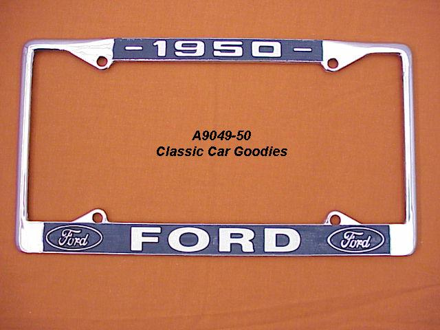 1950 Ford Blue Oval License Plate Frame Chrome. Metal.