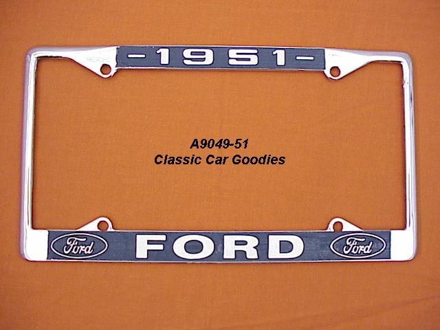 1951 Ford Blue Oval License Plate Frame Chrome. Metal.
