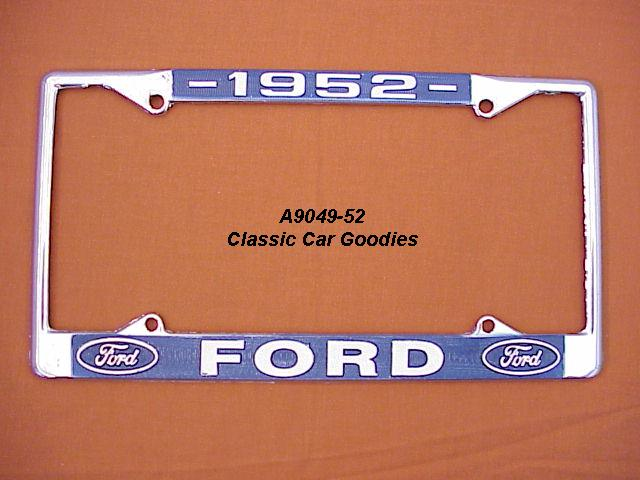 1952 Ford Blue Oval License Plate Frame Chrome. Metal.