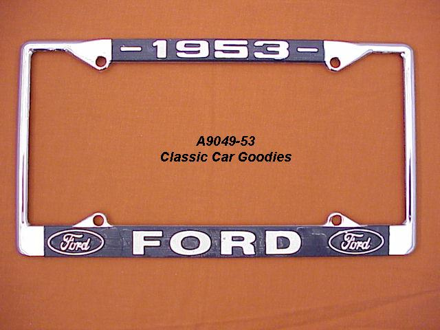 1953 Ford Blue Oval License Plate Frame Chrome. Metal.
