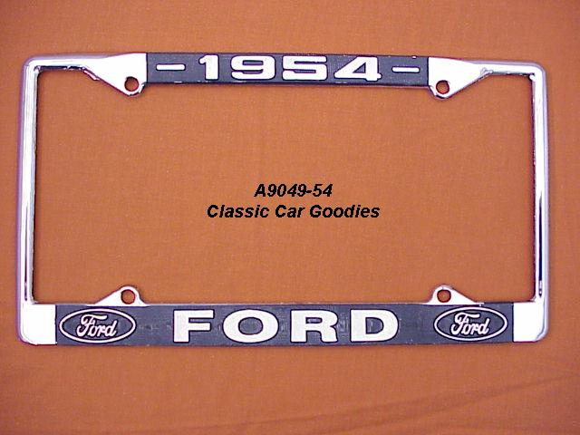1954 Ford Blue Oval License Plate Frame Chrome. Metal.