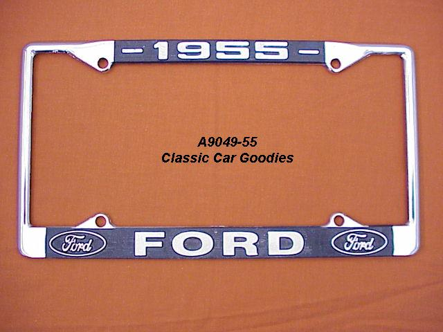 1955 Ford Blue Oval License Plate Frame Chrome. Metal.