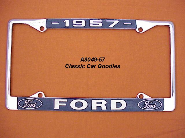 1957 Ford Blue Oval License Plate Frame Chrome. Metal.