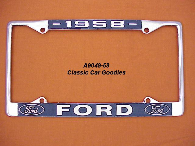 1958 Ford Blue Oval License Plate Frame Chrome. Metal.