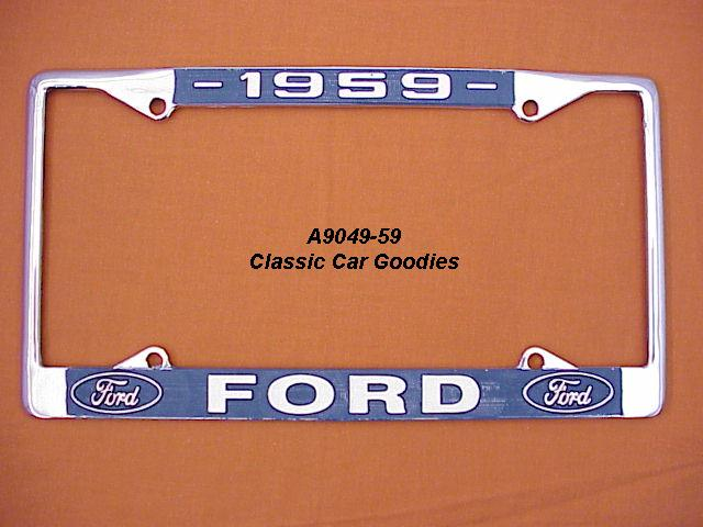 1959 Ford Blue Oval License Plate Frame Chrome. Metal.
