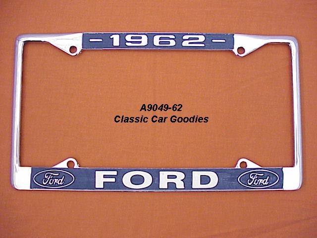 1962 Ford Blue Oval License Plate Frame Chrome. Metal.