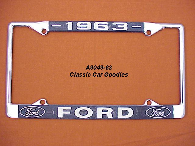 1963 Ford Blue Oval License Plate Frame Chrome. Metal.