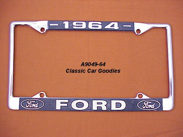 1964 Ford Blue Oval License Plate Frame Chrome. Metal.