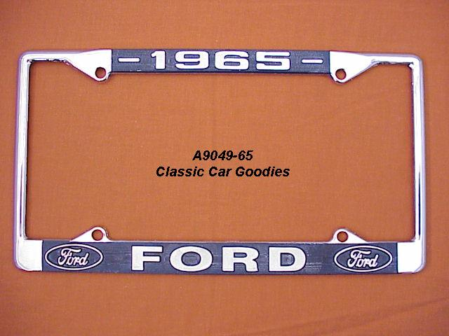 1965 Ford Blue Oval License Plate Frame Chrome. Metal.