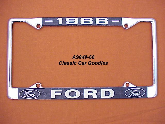 1966 Ford Blue Oval License Plate Frame Chrome. Metal.