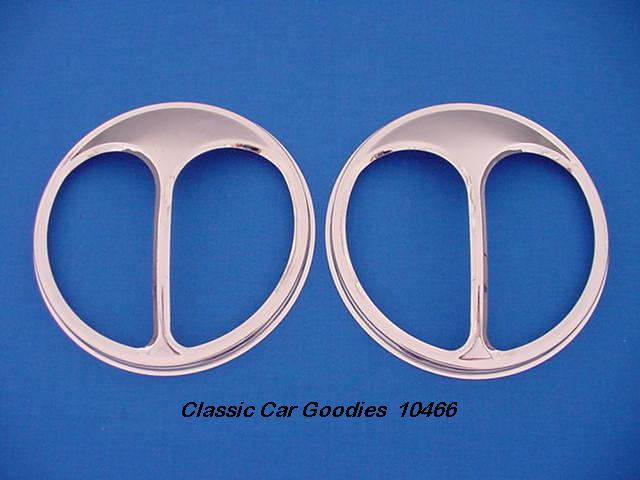 Headlight Covers Cat's Eyes Chrome (2) New for 7 1/4