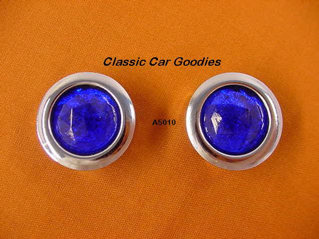Glass Blue Dots (2) Chrome Rims Short Arms Cruiser Rat Rod
