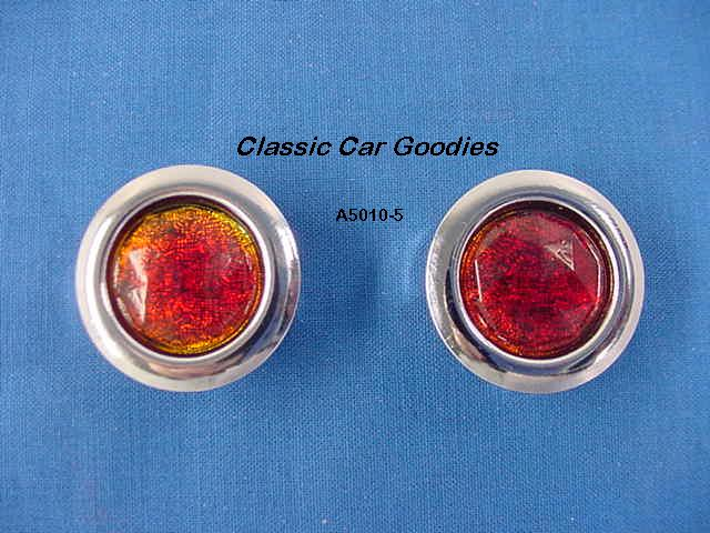 Glass Red Dots (2) Chrome Rims Short Arms Cruiser Rat Rod