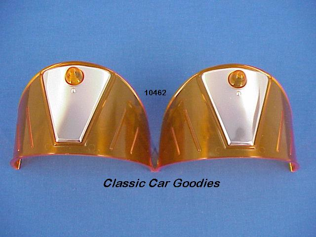 Headlight Visors Amber & Stainless for 7 1/4 Systems