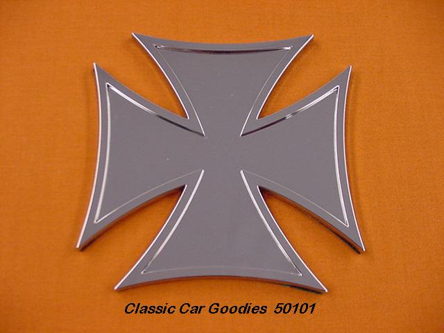 Iron Cross Emblem 4 Ornament Chrome Stick On