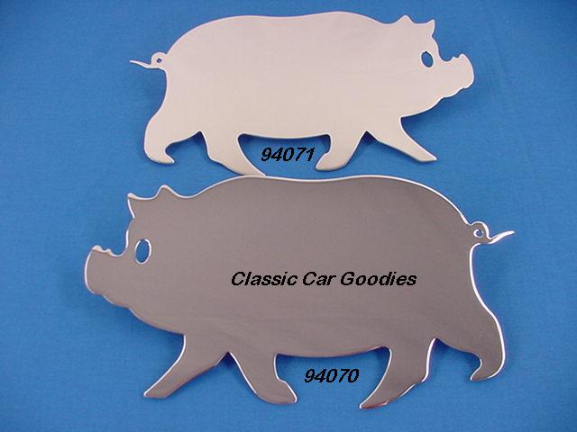 Chrome Pigs (2) 6 1/2 X 12 Hog Harley Farm Mud Flap