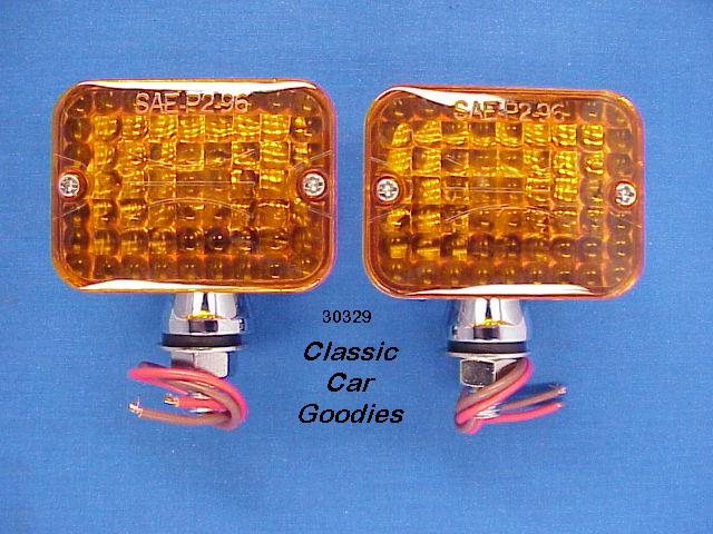 Street Rod Lights (2) Amber #1 Rat Motorcycle Hauler