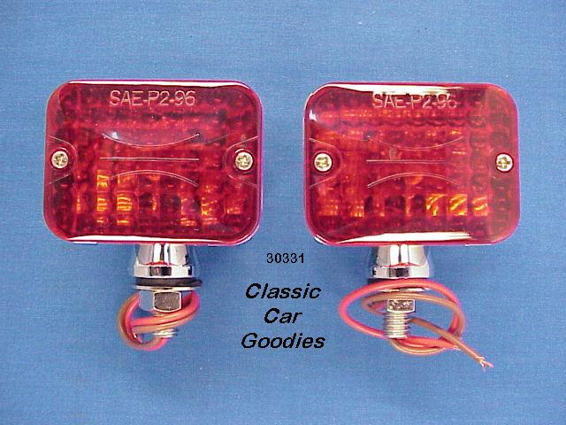Street Rod Lights (2) Red #1 Rat Motorcycle Hauler