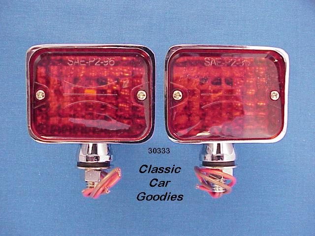 Street Rod Lights (2) Red #2 Rat Motorcycle Hauler