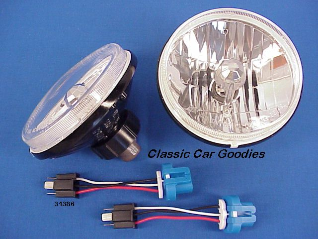 Crystal Halogen Flame Thrower Head Lights (2) Hot Rod Rat