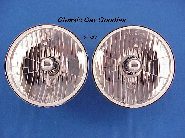 Crystal Halogen Flame Thrower Head Lights (2)  Large 7 1/4 Hot Rod Rat