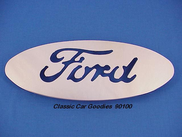 Ford Blue Oval 7 x 17 Chrome Steel Cut-Out Mud Flap