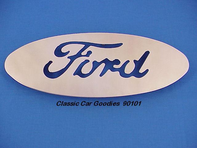 Ford Blue Oval 7 x 17 Polished SS Cut Out Mud Flap